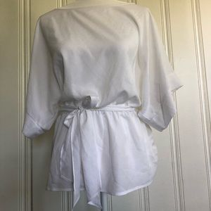 New York and Co white tie blouse